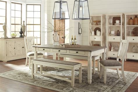 ashley furniture bolanburg antique white finish bedroom bolanburg rect dining table 2 uph side chairs 2 uph
