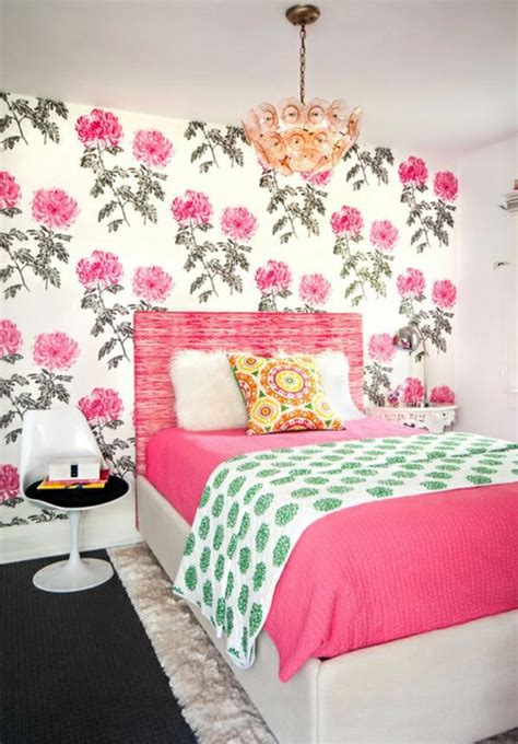 wallpaper and fabrics with floral pattern for decoration