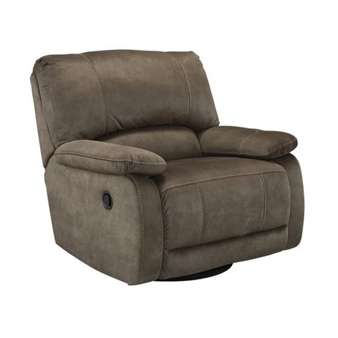 swivel glider recliner leather ashley seamus faux leather swivel glider recliner in taupe