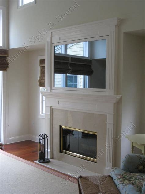 Hidden Tv Over Fireplace Seura Television Mirror Over Mirror Above Fireplace