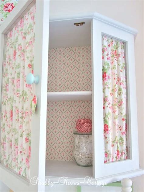 covering glass cabinet doors with fabric shabby roses cottage create with fabric pinterest