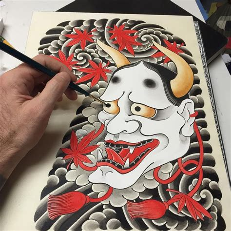 watercolor tattoo japan halfsleeve hannya japanese japanesetattoo