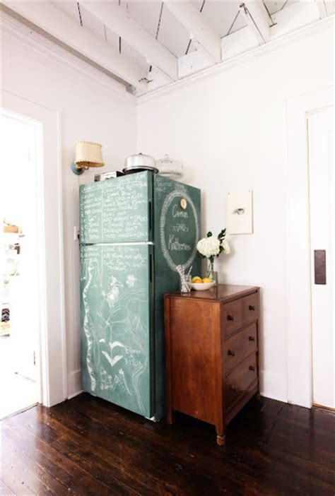 chalkboard paint ideas houzz chalkboard paint fridge eclectic kitchen wichita