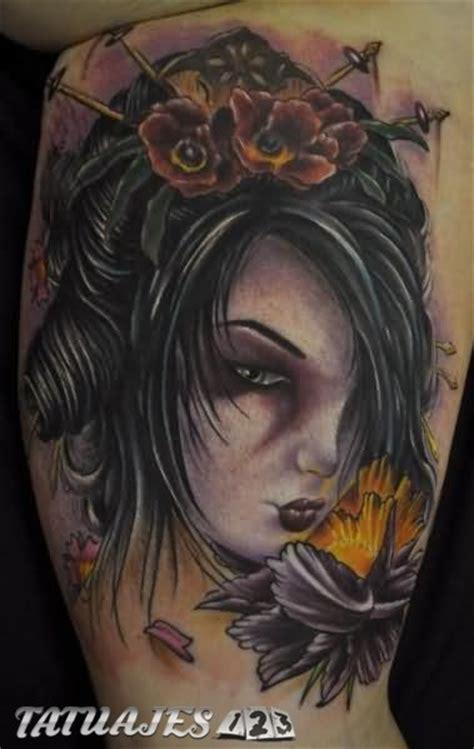 tattoo la geisha rostro de geisha con flores amarillas tatuajes 123