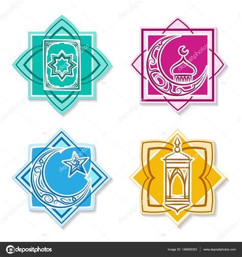 Arabic Flag Set 3in1 islamic emblem set stock vector 169 vectortatu 146659303