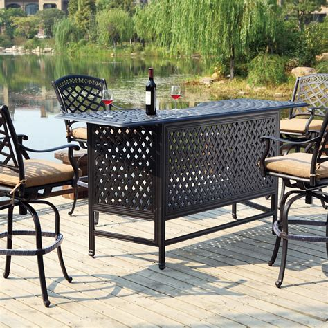 Patio Bar Table Set Darlee Sedona 5 Cast Aluminum Patio Bar Set With Swivel Bar Stools Antique Bronze