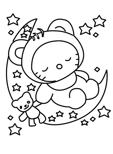 hello kitty christmas coloring pages online hello kitty sleeping in christmas eve coloring pages