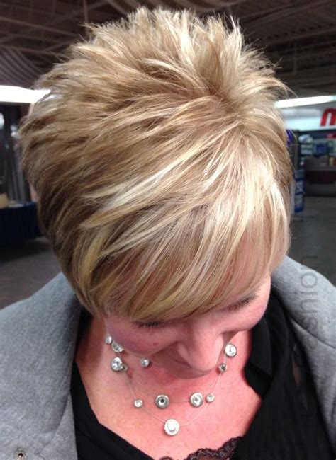 very short stacked pixie for over 50 image result for blonde and brown highlights on short hair