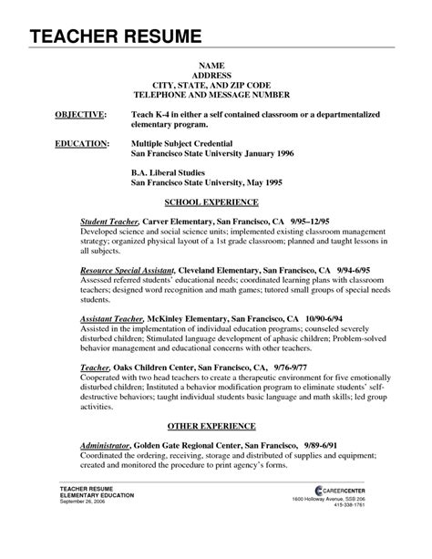 exles of experienced elementary teacher teacher resume