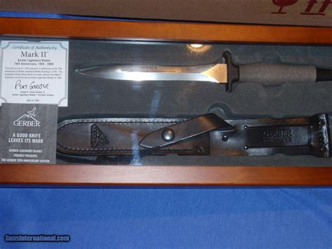 gerber ii 70th anniversary 0052 of 1500 s30v blade new in walnut glass top display