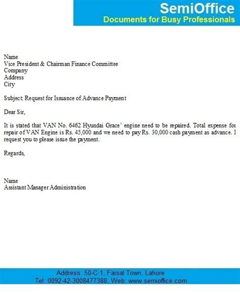 Request Letter Format For Advance Payment Advance Payment Letter From Company