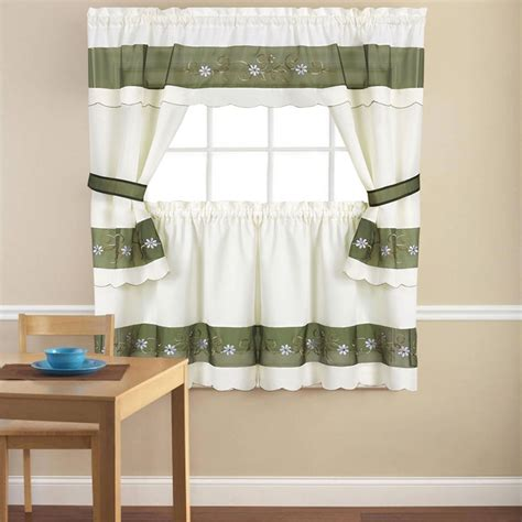 Embroidered Berkshire Floral 5 Piece Kitchen Curtain 36 Kitchen Curtains