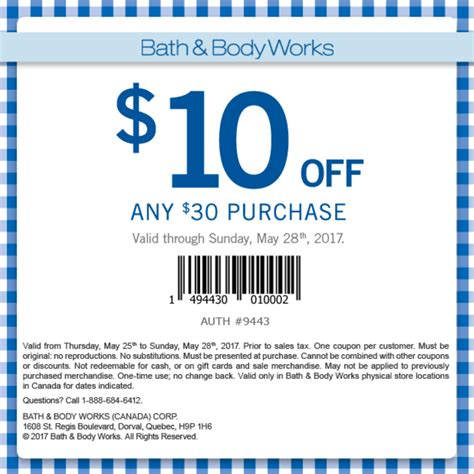 bath and body works canada in store coupons