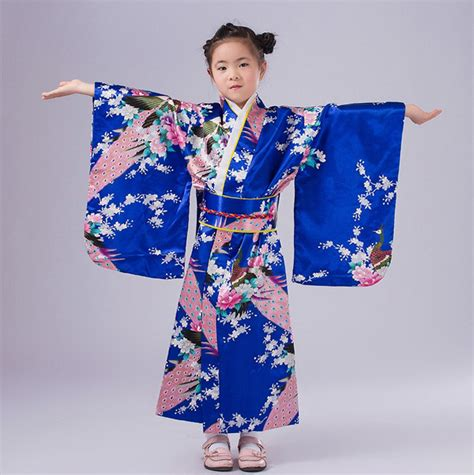 Baby Japan Blue blue japanese baby kimono dress with obi traditional yukata child stage performance