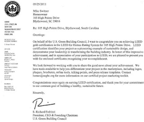 leed certification letter going green leed gold