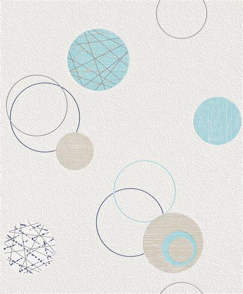 Rasch Wallpaper by Tapete Vlies Kreise Blau Beige Rasch Planet 475913