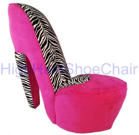 high heel shoe chair zebra and pink high heel shoe chair