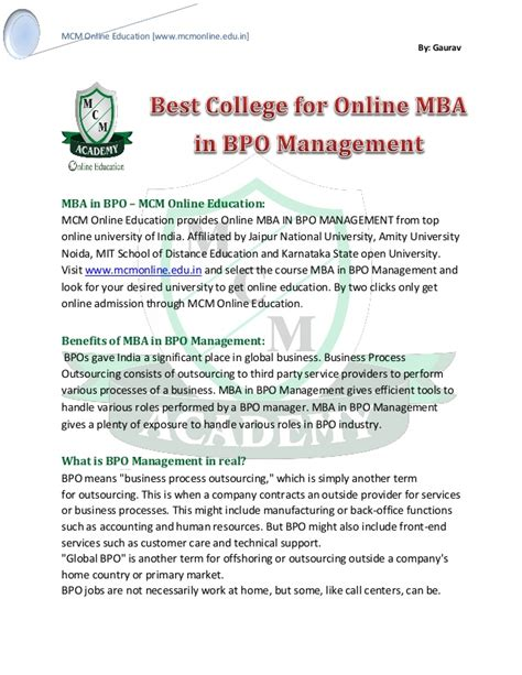 Best College To Get Mba by Mba In Bpo Management Best College For Mba