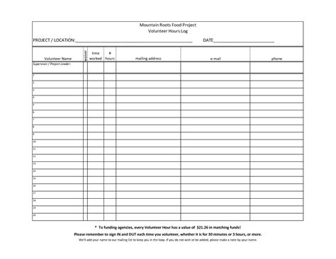 Hours Sheet Template 7 best images of printable hours log volunteer hours log