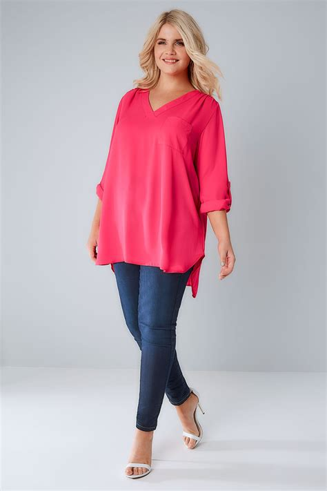 Name Finder By Address Free Uk Magenta Pink Woven V Neck Blouse With Pocket Plus Size 16 To 32