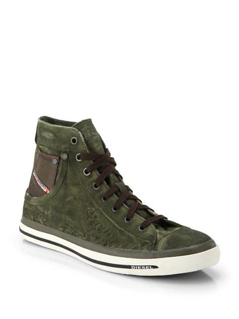lyst diesel exposure high top sneakers  green  men