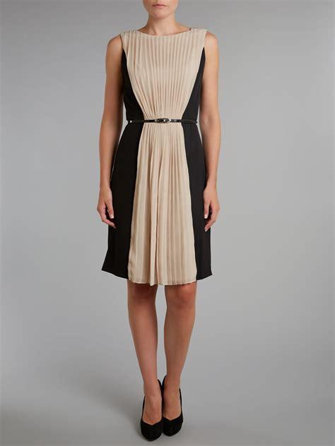 Chiffon Crepe White Dress papell pleat front chiffon crepe dress in black lyst