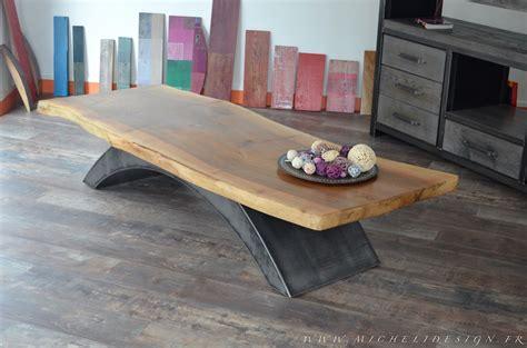 Table Basse Bois Metal 760 by Table De Style Industriel Micheli Design