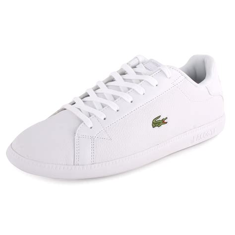 lacoste graduate at mens leather trainers white white new
