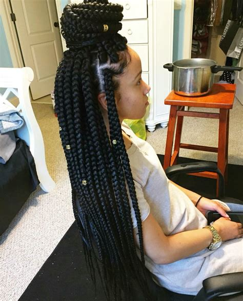 12 year olds with wavey weave braids jumbo box braids amazing long term protective style