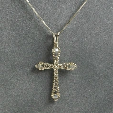 Handmade Cross Pendant - handmade sterling silver wire wrapped cross pendant with