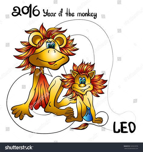 signs zodiac year monkey leo stock vector 329261876