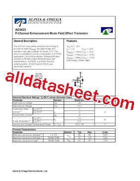diodes inc bss84 ao3423 データシート pdf alpha omega semiconductors