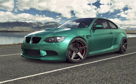 green bmw green bmw m3 e92 on the road hd wallpaper