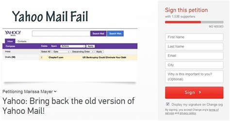 get old yahoo mail layout back petition asks marissa mayer to bring back old yahoo mail
