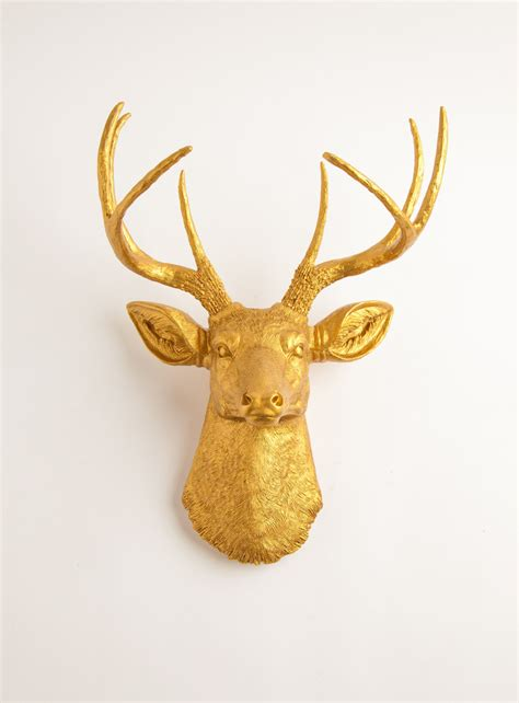 gold deer head mount by white faux taxidermy the franklin