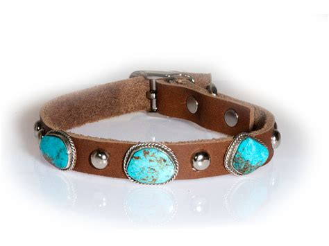 turquoise collar turquoise 3 leather collar made by daniel martinez