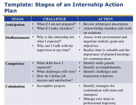 Lesson 2 Stages Of An Internship Internship Project Plan Template
