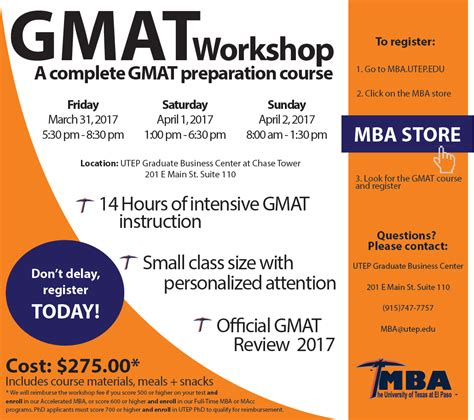 Mba Scu Part Time Cost Review by Gmat Workshops Utep Business