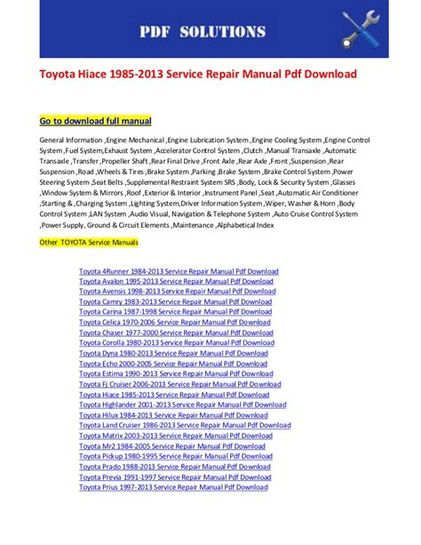 car owners manuals free downloads 2000 toyota mr2 navigation system toyota hiace 1985 2013 service repair manual pdf download