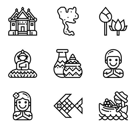 thai pattern font meticulous icon family line 8 429 vector icons