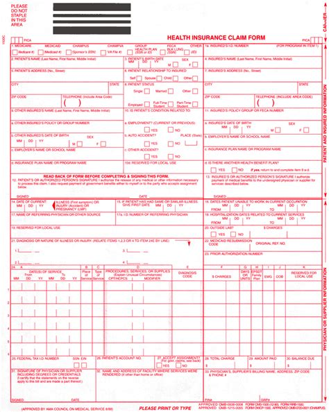 1500 claim form template pin hcfa forms cms 1500 health insurance claim on