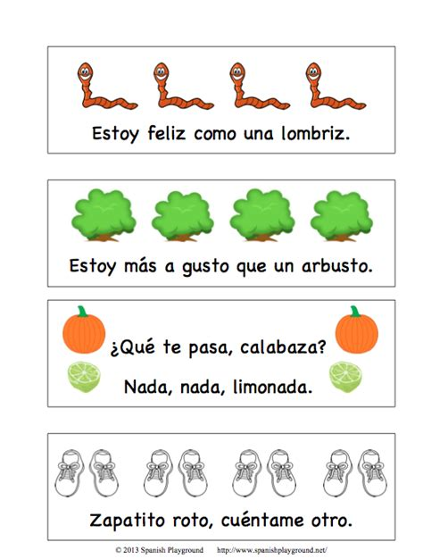 printable bookmarks in spanish printable spanish bookmarks with rhyming phrases spanish