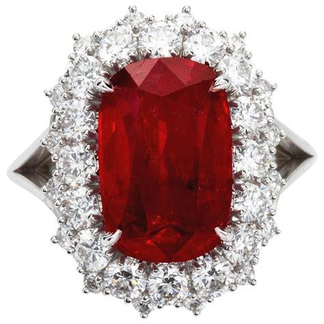 Ruby 5 95 Carat 5 95 carat cushion cut pigeon blood no heat ruby ring grs