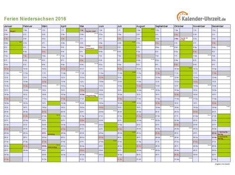 Kalender 2018 Zum Ausdrucken Mit Ferien Niedersachsen Ferien Niedersachsen 2016 Ferienkalender Zum Ausdrucken