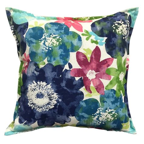 shop allen roth blue and floral square throw pillow