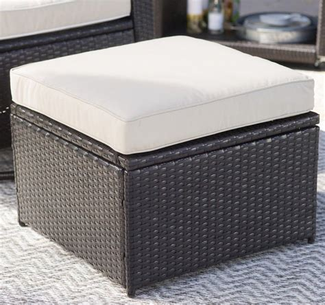 Patio Storage Ottoman Outdoor Storage Ottoman Resin Wicker Foot Stool Cushion Patio Deck Brown Ebay