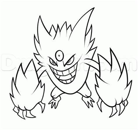 pokemon coloring pages gengar step 18 how to draw mega gengar
