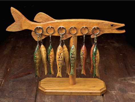 folk art fish keychain holder woodcarving illustrated