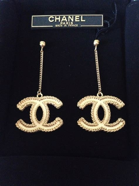 chanel large earrings sold chanel vintage gold cc icon