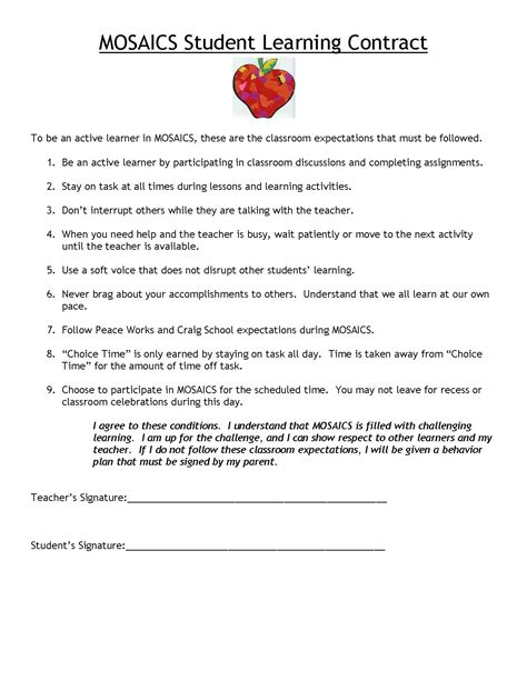 learning agreement template magnificent learning contract template pictures